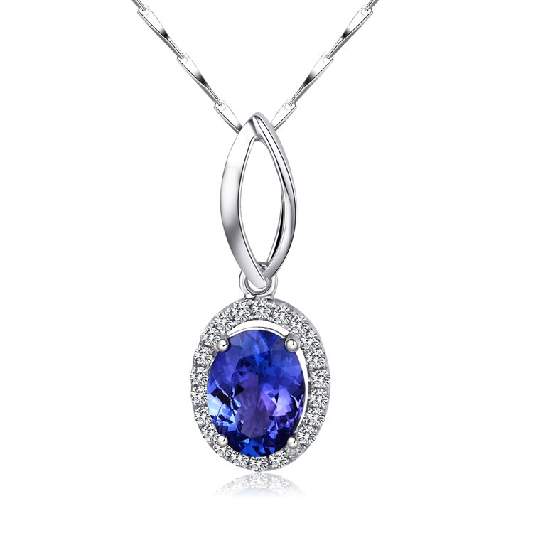 Natural 1.39ct tanzanite and Surrounding with 22pcs natural diamond 18K white gold pendant