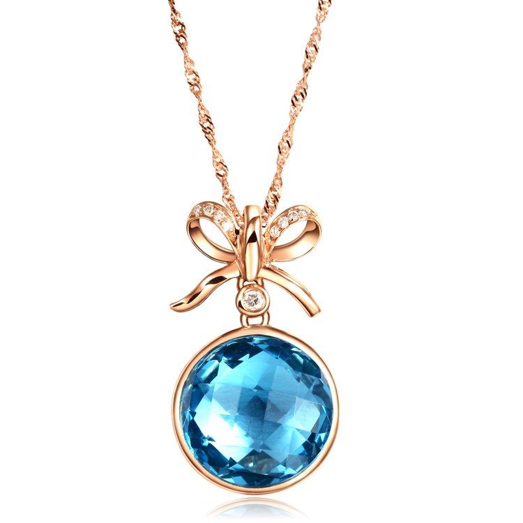 Natural 6.4ct tanzanite and Surrounding with 9pcs natural diamond 14K rose gold pendant