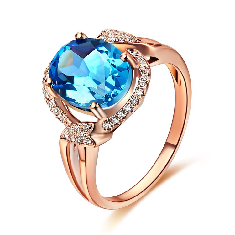 Natural 3.48ct Blue topaz and Surrounding with 40pcs natural diamond 14K rose gold rings