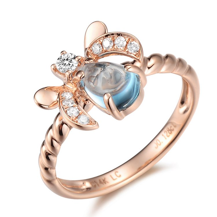 Natural 0.87ct Blue topaz and Surrounding with 9pcs natural diamond 14K rose gold rings