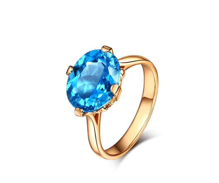 Natural 5.57ct blue topaz rings with 14K rose gold rings