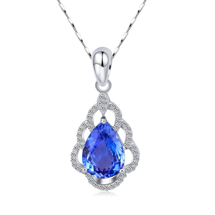 Natural 1.70ct tanzanite and Surrounding with 44pcs natural diamond 18K white gold pendant