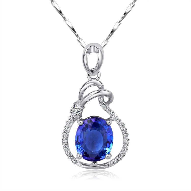 Natural 1.57ct tanzanite and Surrounding with 27pcs natural diamond 18K white gold pendant