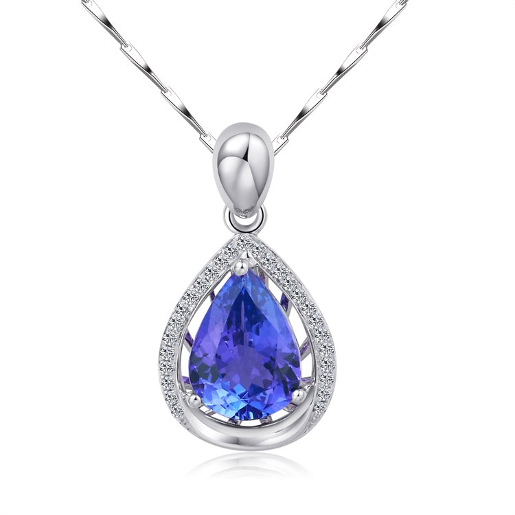 Natural 1.53ct tanzanite and Surrounding with 27pcs natural diamond 18K white gold pendant