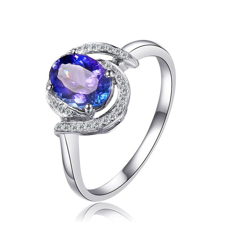 Natural 1.20ct tanzanite and Surrounding with 33pcs natural diamond 18K white gold rings