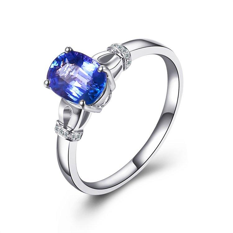 Natural 1.27ct tanzanite and Surrounding with 14pcs natural diamond 18K white gold rings
