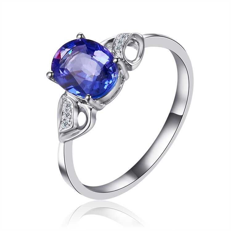 Natural 1.30ct tanzanite and Surrounding with 6pcs natural diamond 18K white gold rings