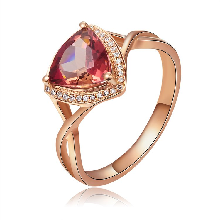 Natural 1.25ct red tourmaline and Surrounding with 33pcs natural diamond 14K rose gold rings