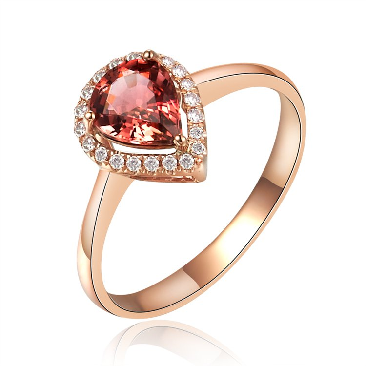 Natural 0.7ct red tourmaline and Surrounding with 23pcs natural diamond 14K rose gold rings