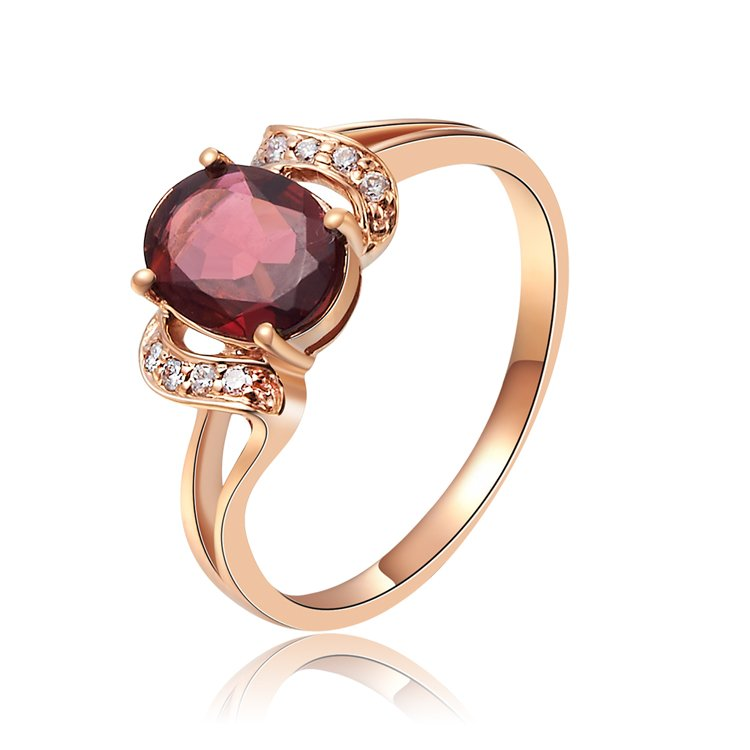 Natural 0.7ct red tourmaline and Surrounding with 8pcs natural diamond 14K rose gold rings