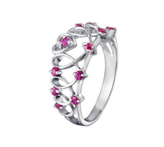 Natural ruby flower shape sterling silver ring(0.24ct)