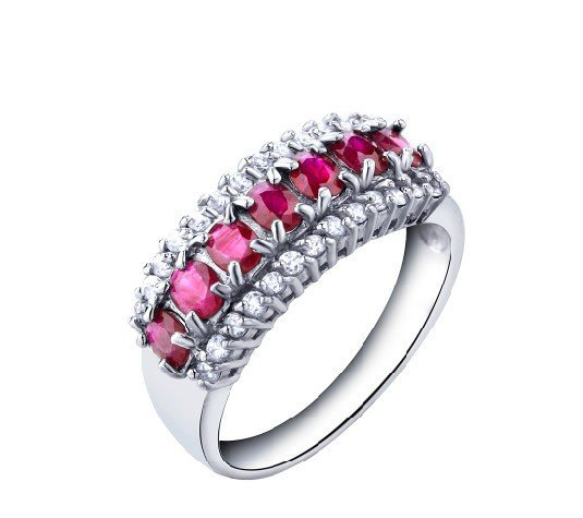 A row of natural ruby flower shape sterling silver ring(1.75ct)