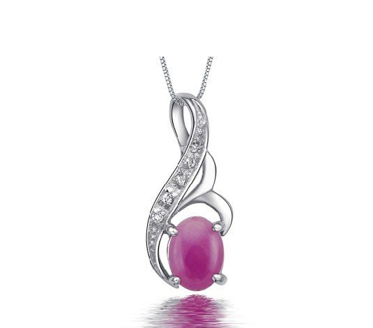 Natural ruby oval cut 0.9ct pendant set in sterling silver