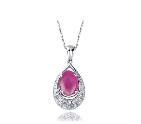 Natural ruby oval cut 1.3ct pendant set in sterling silver
