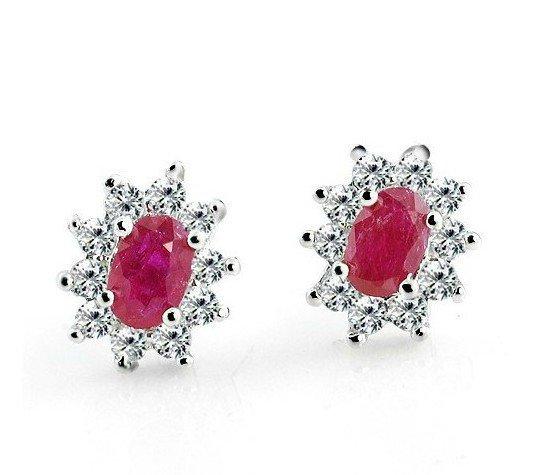 Natural ruby flower shape stud sterling silver earrings