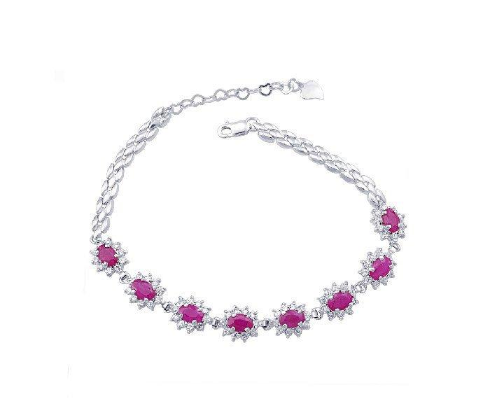 Natural ruby sterling silver bracelet