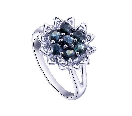 Natural sapphire round Cut flower shape sterling silver ring(1.92ct)