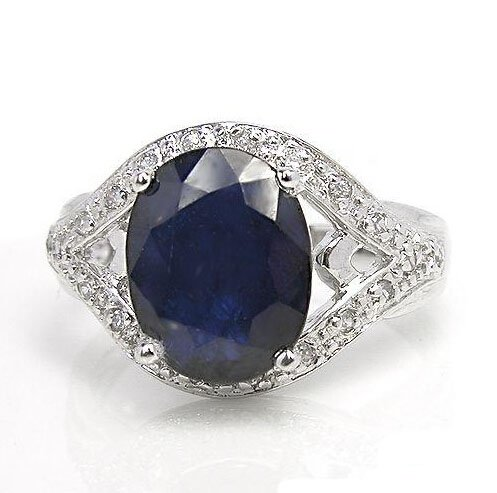 Natural huge sapphire sterling silver ring from sapphire mine