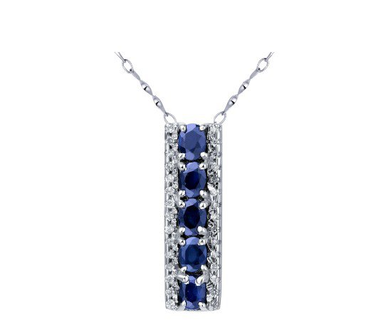 Natural a row sapphire sterling silver pendant