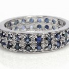 A cluster of sapphire sparking sterling silver ring