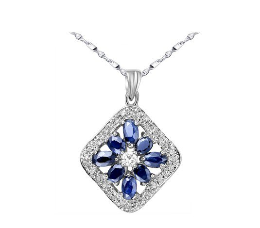 Natural sapphire sterling silver pendant