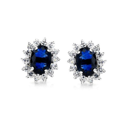 Natural sapphire flower shape stud sterling silver earrings