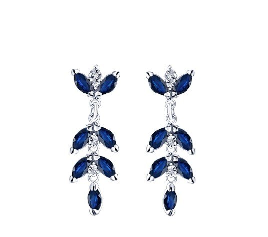Natural sapphire flower shape drop sterling silver earrings