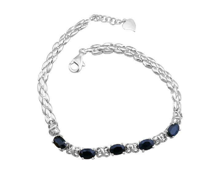 5pcs Natural Sapphire sterling silver bracelet