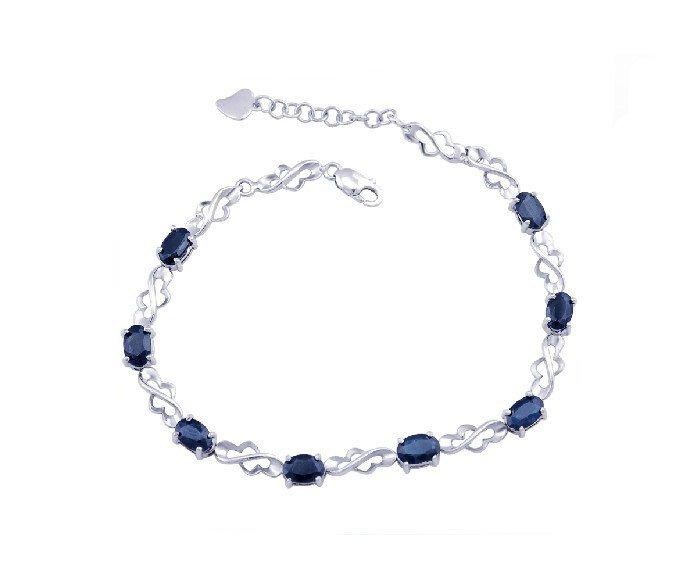 8pcs natural Sapphire sterling silver bracelet