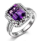 Natural 4.09ct Amethyst rings and surrounding with 0.92 ct South Africa diamond 14K white gold rings