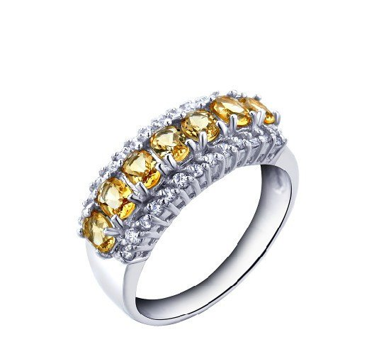 A row of Natural Citrine 1.05ct oval cut 925 sterling silver ring