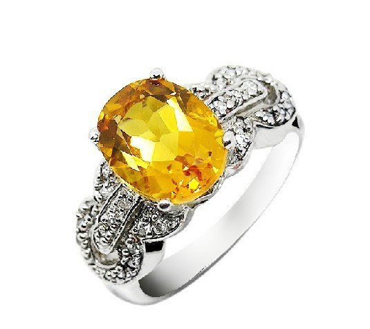 Huge 2.65ct Natural Citrine ring round cut 925 sterling silver ring