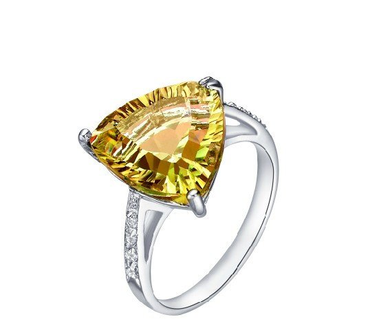 Huge 2ct Natural Citrine triangle shape 925 sterling silver ring