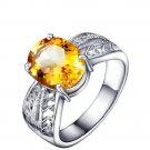 Huge Natural Citrine 3.45ct oval cut 925 sterling silver ring