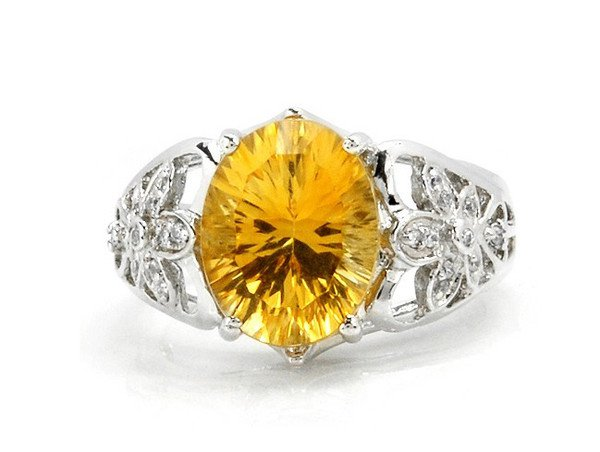 Huge Natural Citrine ring oval cut 925 sterling silver ring