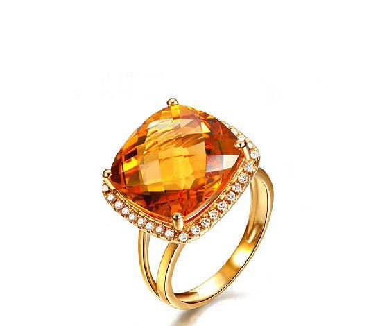 Natural huge 10.56ct Citrine rings and surrounding with natural diamond 14K yellow gold rings