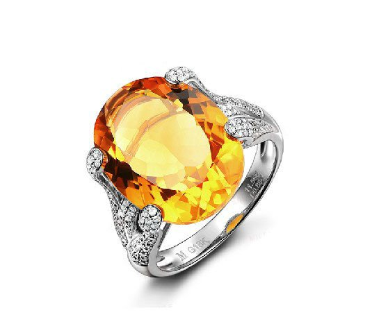Natural huge 11.55ct Citrine rings and hold by 0.85ct diamond prong 14K white gold rings