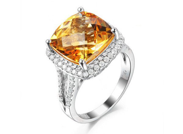 Natural huge 8.55ct Citrine rings and surrounding with 0.41 natural diamond 14K gold rings