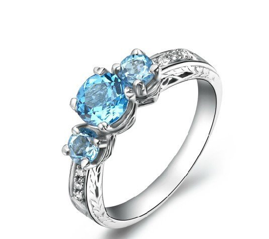 3pcs Natural Topaz round cut 925 sterling silver ring (1.6ct)