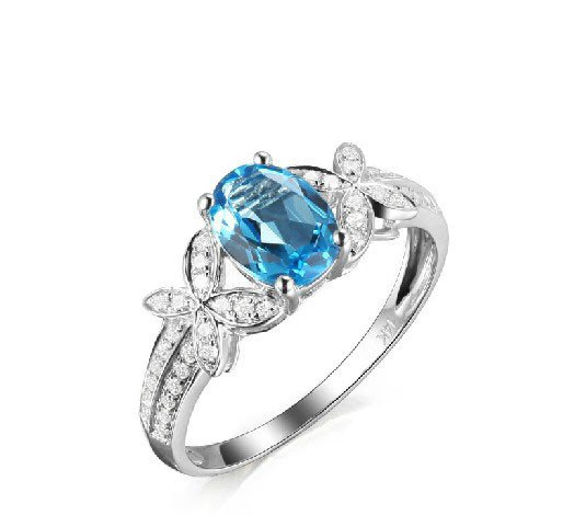 2.69ct Topaz oval Cut with 0.34ct natural Diamonds14K Gold ring