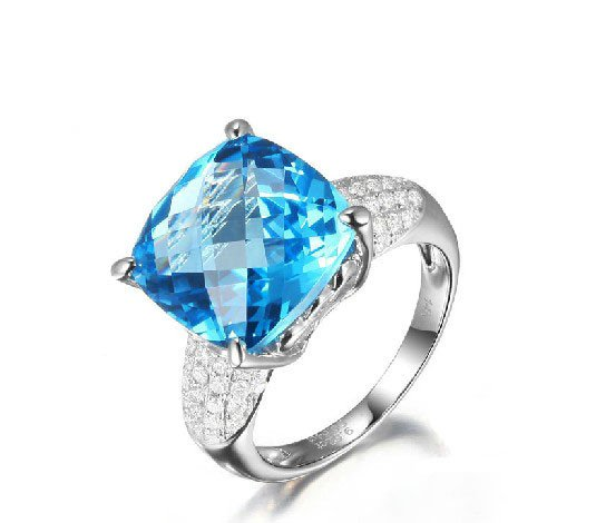 9.52ct huge Topaz cushion Cut with 0.54ct natural Diamonds Halo 14K white Gold ring