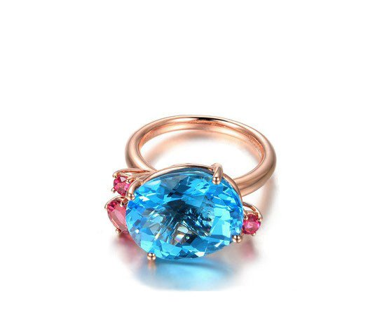 Natural 12.26ct topaz rings with 3pcs natural brazil red tourmaline 14K Gold rings