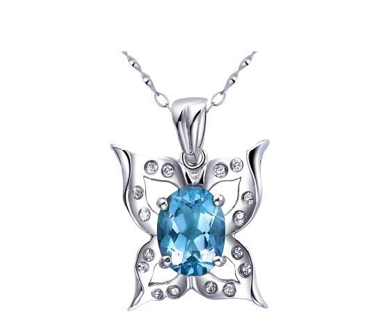 Natural topaz butterfly shape pendant oval cut 1.75ct set in sterling silver
