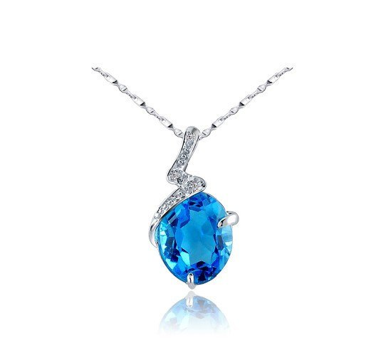 Natural topaz oval cut 2.95ct pendant set in sterling silver