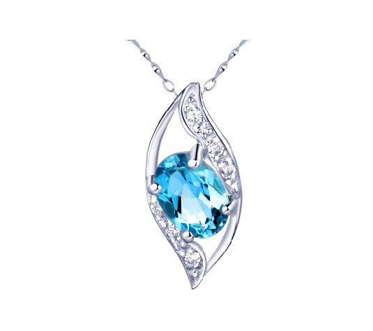 Natural topaz pendant oval cut 0.95ct set in sterling silver