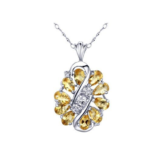 Natural citrine pear cut pendant set in sterling silver