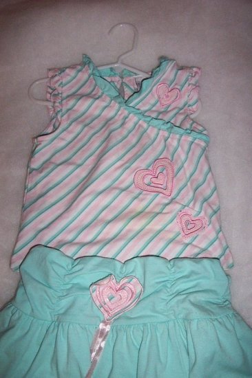 """Size 6X """"Kids Headquarters"""" Girl's 2 Piece (teal/white/pink) FREE SHIPPING"""