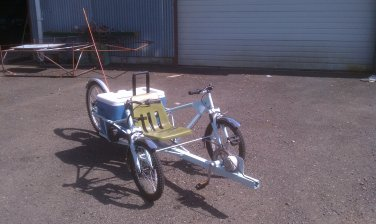 Zephyr 1100 MPGe human electric recumbent tadpole trike e-bike mobility scooter wheel chair