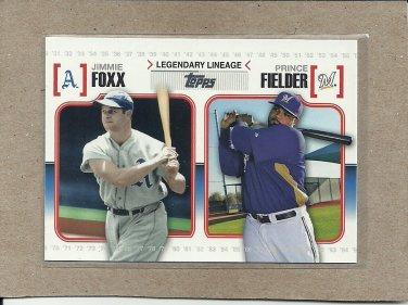 2010 Topps Baseball Legendary Lineage Foxx and Fielder #LL41