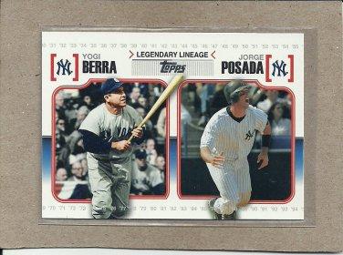 2010 Topps Baseball Legendary Lineage Berra and Posada #LL 57